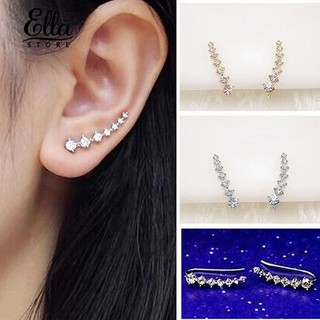 Ellastore Women's  7 Rhinestones Charm Earrings Ear Stud Jewelry Christmas Gift