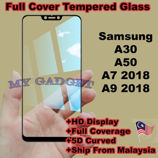 Samsung A30 A50 A7 A9 2018 Full Glue Full Covered Temepered Glass