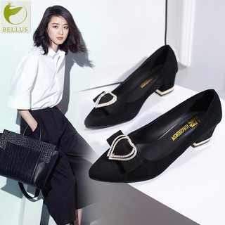 Mid-heeled shoes female metal buckle pointed thick with suede single shoes Korea