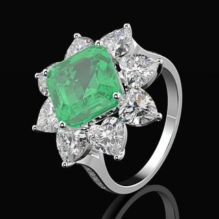 One Rain 925 Sterling Silver Emerald Gemstone Wedding Engagement Cocktail Anniversary Ring Fine Jewelry Wholesale