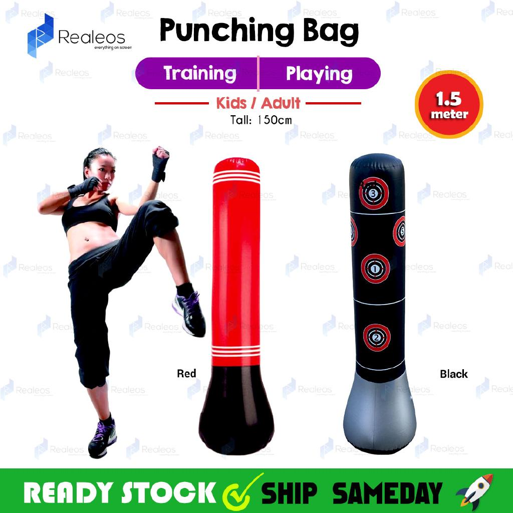 1.5m Realeos Standing Adult Kids Boxing Stress Punching Bag with Pump - RA10
