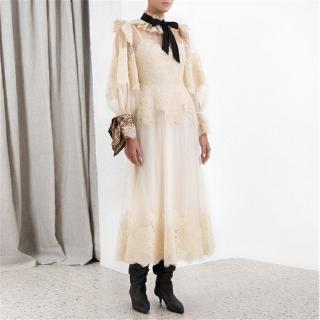 Autumn New High Quality Palace Bow Decoration Tulle Lace Long Dress Women Australia Holiday Dress