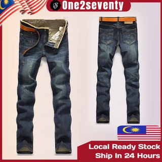 READY STOCK Men Jeans Denim Long Pants Seluar Panjang Casual Plus Size Pant MP 040