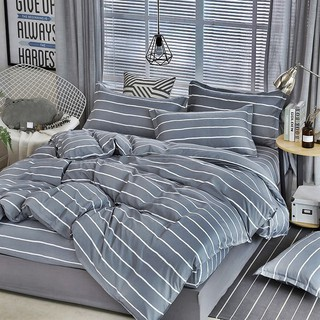 6PCS FITTED SET WITH COMFORTER (GREY LINE)