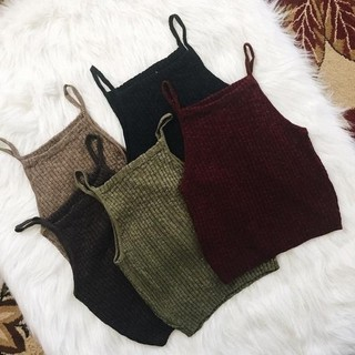 Fashion Crop Tops Women Sleeveless Knit Crop Top Solid Color Vest Tanks