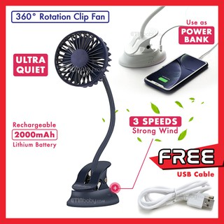 [READY STOCK] 360 Degree Rotation USB Fan with Clip USB Cable Rechargeable Mini Fan Power Bank 2000mAh