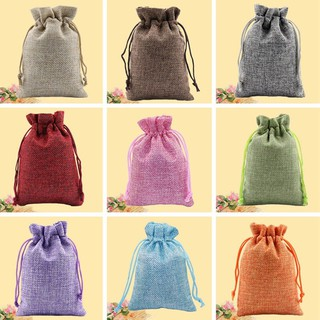 Christmas Linen Jute Drawstring Jewelry Gift Bags Sacks Wedding Birthday Party Favors Drawstring Gift Bags