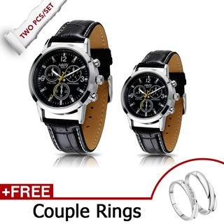 【Free Couple Rings】2Pcs/set NARY Couple Watches Leather Strap waterproof Quartz Lovers Wristwatches