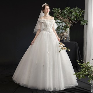 BEAUNIQUE Off Shoulder Lace Sleeve Floral Design Baju Khawin Murah Tulle Wedding Dress Bride Marry White Bridal Gown
