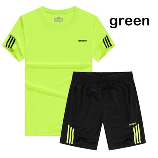 Men's Tracksuit T-Shirts and Shorts Fitness Running Athletic Sports Set M-5XL