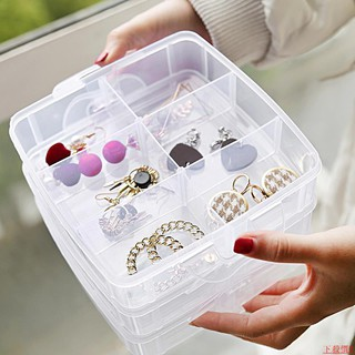 3 layers 18 grid transparent plastic multilayer storage box portable simple ring earring earring ear jewelry b