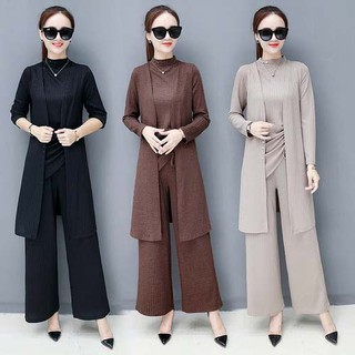 Korean version of the thin three-piece long-sleeved women's wide-leg pants