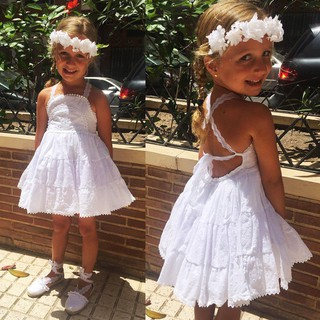 Summer Toddler Baby Kids Girls White Lace Pageant Party Dress Dresses