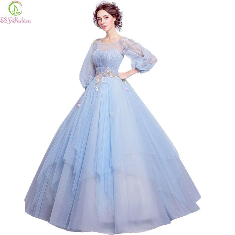Women's Fashion Light Blue Flower Prom Dress Long Sleeves Evening Party Gowns