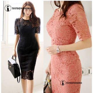 Summer Korean Style Elegant Ladies Dress Women Clothing Slim Solid Lace Short Sleeve Tunic Midi Cocktail Party Dresses