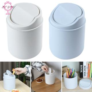 BY Countertop Mini Trash Can Swing Lid Removable Cover Table Wastebasket for Home