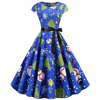 Adult Women Christmas Costume Snowman Xmas Tree Printed Midi Dress Women Round Neck Long Sleeve High Waist A Line Dress