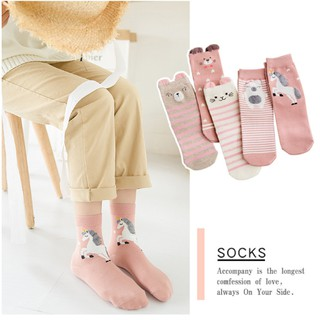 5 Pairs Autumn Cute Cartoon Rabbit/Cat Animal Funny Socks Women