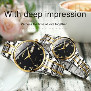 OLEVS couple watch luxury luminous waterproof steel belt double calendar men's watch