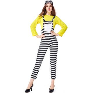 Carnival party carnival black and white striped fake two pieces cute cartoon clothes dance performance