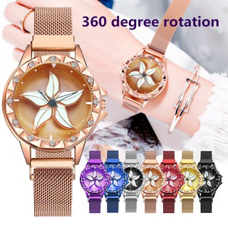 Ready Stock360° Rotating Flower Watch Women Magnet Buckle Stainless Steel Wristwatch jam tangan wanita