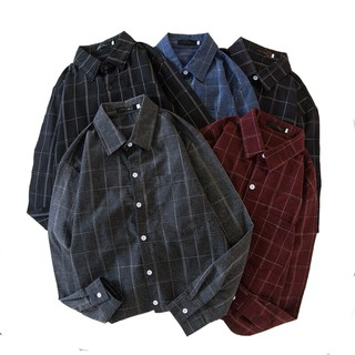 Men's British Style Casual Loose Plaid Shirt Long-sleeved Shirt