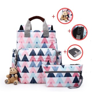 Stock Backpack Handbag Baby Diaper Bag Baby bottle bag Women Travel Backpack Diaper Backpack Storage Bag[Buy 1 get 4]
