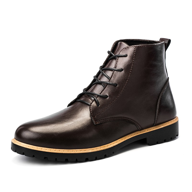 Men's Casual Microfiber Leather Ankle Boots Brown