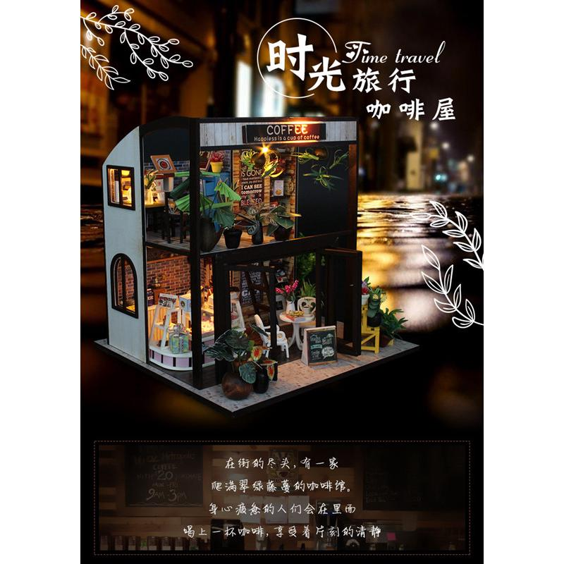 Diy house cottage Time Travel Coffee House manual assembled building 3d puzzle Simulation model Valentine gift handmade