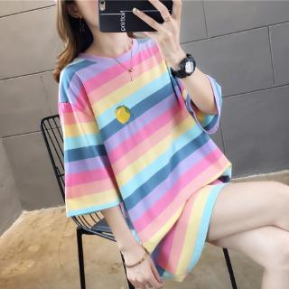 Bottom missing t-shirt female short-sleeved summer Korean version of the net red large size loose rainbow stripes in the