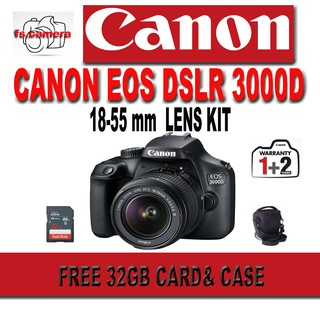 CANON CANON EOS DSLR 3000D KIT 18-55MM FREE 32GB CARD + CASE ORIGINAL FREE ONLINE CASHBACK RM250 (1st OCT- 30th NOV)