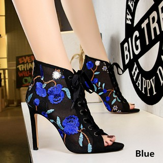 European and American Sexy Thin High-heeled Mesh Openwork Lace Flower Embroidery Thread with Fish Mouth Sandals Shoes