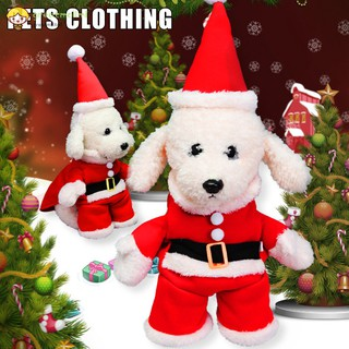 GM Dogs Clothing Santa Claus Costume Pet Puppy Christmas Coat Hat Outfit for Christmas Party