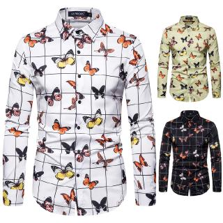 2020 Spring New European Men's Long Sleeve Shirt Butterfly Print Shirt