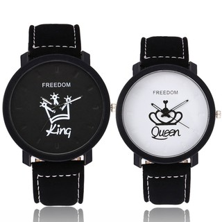 Fashion Couple QUEEN KING Popular Casual Quartz Women Men Lover's Gift Watch