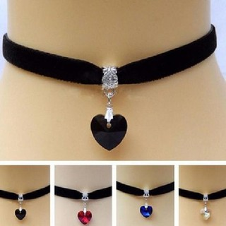 【Ready Stock】 Gothic Velvet Heart Choker Handmade Necklace Pendant Retro