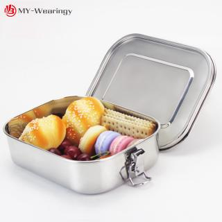 Square 304 Stainless Steel Preservation Lunch Box with Silicone Sealing Ring Leak-Proof Food Bento
