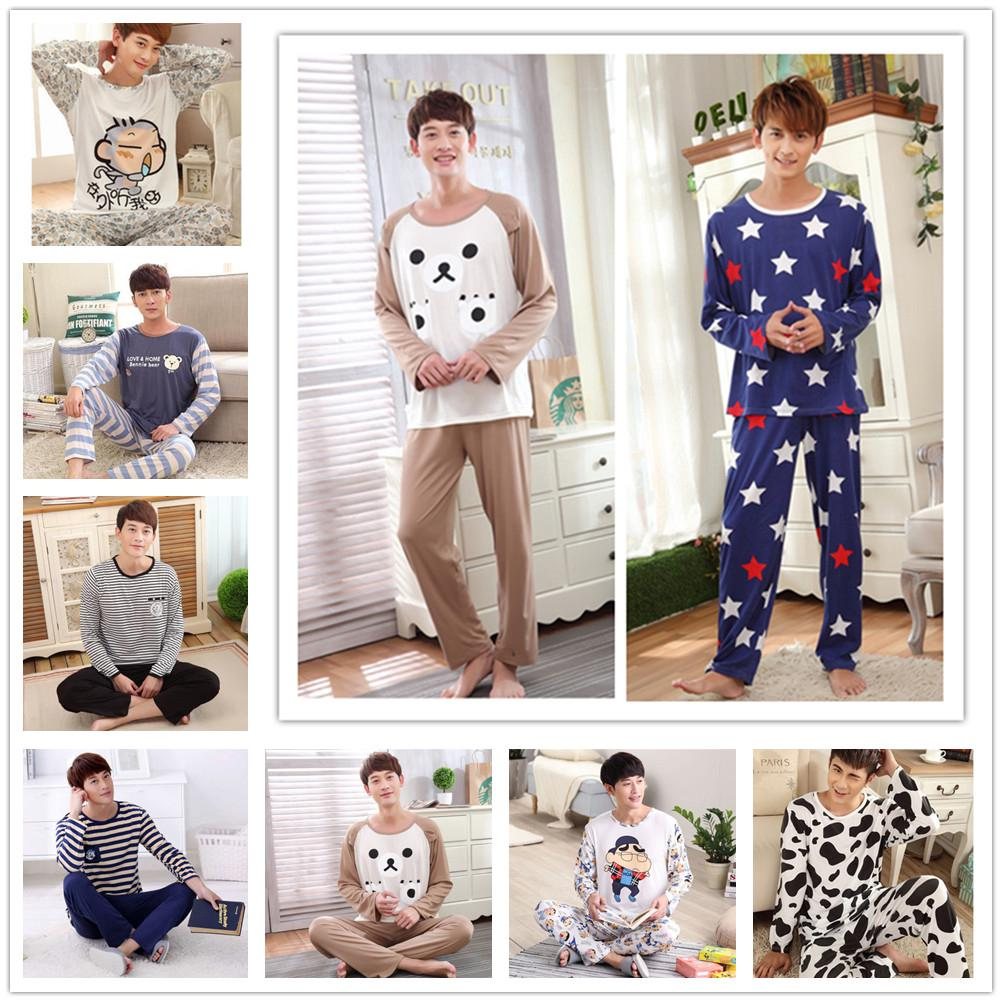 Long Sleeved Pajamas Set Men's Sleepwear Milk Silk Nightwear Casual Pajama