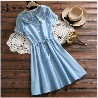 Women Casual Embroidery Lace-up Tunic Denim Jeans Pleated Midi A-line Prom Dress