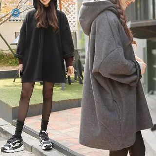 Ready Stock Fashion Korean Plain Loose Hoodie Women Casual Plus Size Long sleeve coat Simple Cap Sweaters Tops【1015289】