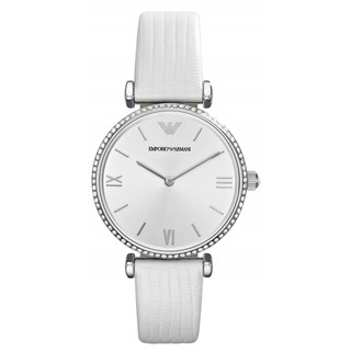 Original EmporioArmani AR1680  Women Bezel Silver Dial White Leather Strap Watch