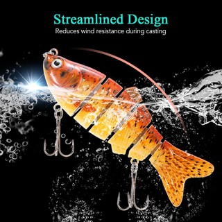 Sis 10cm/20g Lifelike 6 Jointed Sections Swimbait Fishing Lure Crankbait Hard Bait Fish Hook Fishing Tackle