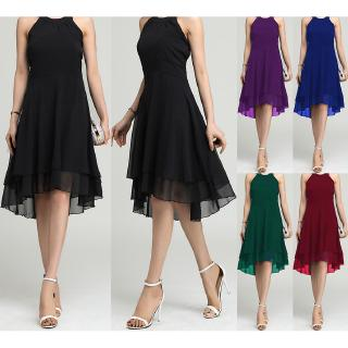 Hanging neck high waist asymmetric hem sleeveless chiffon dress size 5XL leave message please
