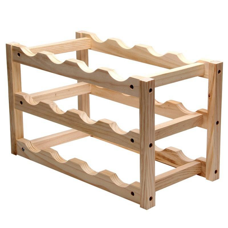 Hot Wooden Wine Rack 12 Bottle Rack Display Stand Folding Wooden Wine Rack Alcohol Beverage Bottle Rack