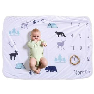 Baby Monthly Milestone Blanket For Girl Boy Floral Deer Horn Frame Newborn Photo Prop Background 30 * 40in Not Wrinkle