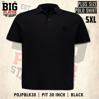5XL PIT 30 INCH | POLO SHIRT PLAIN JP | BLACK | POJPBLK30