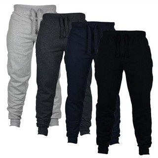 Mens BASIC JOGGER Pants Cotton Active Urban Harem Slim Fit Elastic