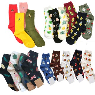 Korean Fresh Harajuku Fruits Socks Funny Animal Flamingos Lemon Avocado