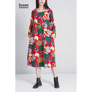 Vintage Women Floral Pattern Pregnant Dress Casual Long Sleeve Loose Dresses