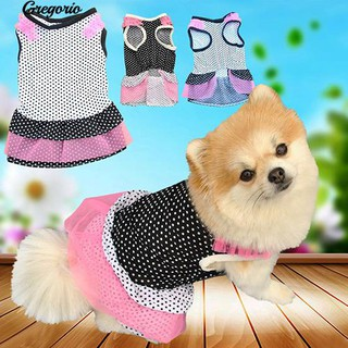 Gregorio Puppy Dog Pet Princess Beautiful Dot Yarn Elastic Skirt Dress Clothes